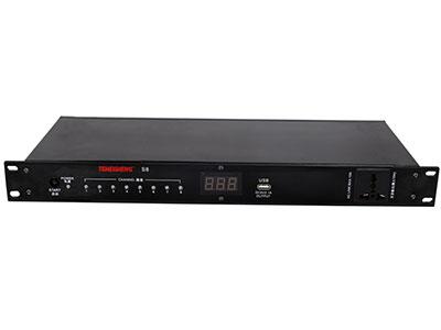 """特美声 专业电源时序器 S8 """"额定输入:交流-220V、50Hz/60Hz          30A/6KVA 额定输出:交流-220V、50Hz/60Hz          15A/3KVA 开关机延时时间间隔:2秒 特点:面板特美声专业定制雅黑色铝合金面板、带电压指示显示屏,8路电源时序+1万用插孔输出,30A大电流输出,输出采用万用插孔电源座,方便任何电源插头接入。内按式按钮开关,避免随意性的启动或关闭。面板前置不受控万能插座,方便临时供电"""""""