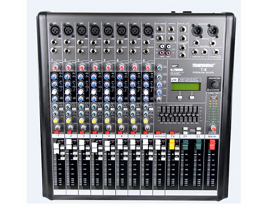 特美声 调音台   T-8 9段EQ均衡(中心频率扫描),2辅助发送,每路配监听和静音开关,2路双声输入控制,+48V幻象电源,带USB功能  内置32种数字效果(A16,B16可自由切换)