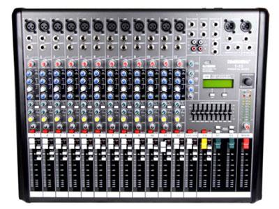 """特美声 调音台 T-12  """"9段EQ均衡(中心频率扫描),2辅助发送,每路配监听和静音开关,2路双声道 各类小型会议室专用!,大功率低漏磁环形变压器高速运行装备系统,带USB,SD,蓝牙功能。支持音频输入,数码卡拉OK麦克风输入接口,大LED数码显示屏互调失真 = / <0.35\%    转换速率 >10V/us    电压增益 31dB    信噪比 >100dB    输入灵敏度 0.775V/1.4V    输入阻抗 平衡20K ohms/非平衡10K ohms    保护线路 直流、过载、温度、啸叫"""