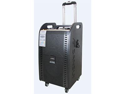 """山水  SG1-10 """"10寸喇叭、3寸高音 电池:7.5Ah 电源适配器:15V/4A 功能:蓝牙、语音、录音、话筒优先、带遥控 双手持无线咪:U-3606DT32S(781.85/788.85) 功率:60W 特点:顶部全功能控制台,人性化设计"""""""