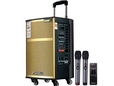 """山水 SG2-08 """"8寸喇叭、80磁高音 电池:5.5Ah 功能:云音乐,蓝牙、语音、录音、话筒优先、外接12V ,带咪架,带遥控 无线咪:W-228B银色 功率:40W"""""""