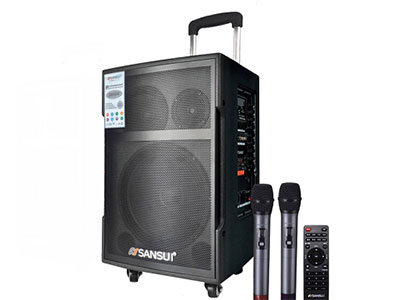 """山水 SG3-08 """"8寸喇叭、80磁高音 电池:5.5Ah 功能:云音乐,蓝牙、语音、录音、话筒优先、外接12V ,带咪架,带遥控 无线咪:W-228B玫瑰金 功率:40W"""""""