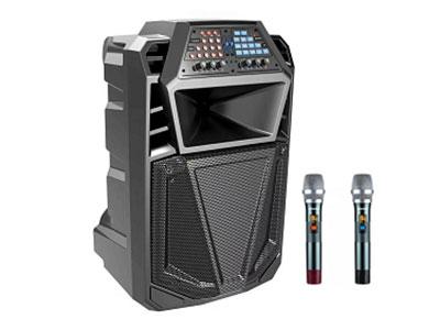 """山水  SS7-12 """" 电  池:12V/9A 功  能:消原唱 蓝牙 语音 录音  带遥控  话筒优先  内置声卡  多功能直播  多功能操作  多模式选择 喇  叭:12寸低音  80磁高音 无线咪:W-228追频手咪 """""""
