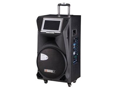 """山水  SA1-15 """"15寸喇叭、80磁高音 电池:20Ah 功能:9寸点歌系统,云音乐,蓝牙、语音、录音、话筒优先、外接12V,带咪架,带遥控 无线咪:U-3607DQ7 功率:150W"""""""