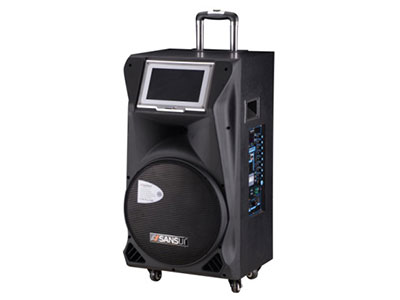 """山水  SA2-12 """"12寸喇叭、80磁高音 电池:20Ah 功能:14寸点歌,蓝牙、语音、录音、话筒优先、带咪架,带遥控 无线咪:W-228B 功率:100W"""""""