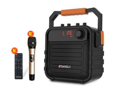 """山水 SS7-05  """"电    池:12V5AH铅酸电池 功能配置:消原唱 话筒优先 语音提示 录音 USB TF卡  蓝牙连接 AUX输入 话筒输入  带遥控   微信APP小程序 额定功率:20W   5.5寸全频低音喇叭  单手咪:770.0MHZ """""""
