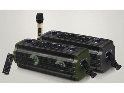 """山水 SS2-04 """"双4寸低音,1寸高音 电池:12V/3A ,电源:15V/3A适配器        振膜:  双低音反射式振膜 无线咪:单手专用咪(自动追频)    频率响应:20HZ—20KHZ(+-3DB) 信 噪 比: ≥75DB(A计权) 功能:蓝牙、语音、录音、话筒优先,带遥控,混响调节 功率:  40W   适用场所:户外郊游,休闲聚会,教学,导游等。"""""""