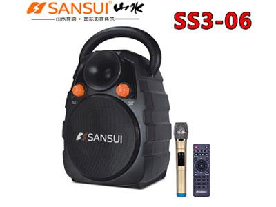 """山水 SS3-06 """"5寸低音,3寸高音 电池:12V/2.6A 单手咪/UT32S(781.85MHZ) 电源适配器:15V/3A 功率:40W"""""""