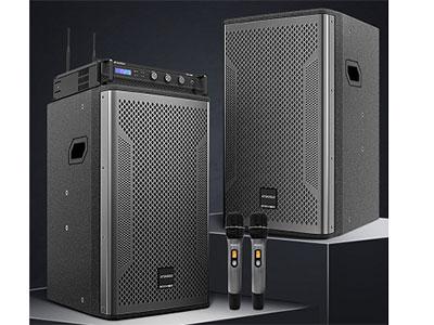 """山水 S12-850 """"1.专业级数字功率放大器、效率高、节能环保,电源电压要求低,160V-260V电压都能胜任; 2.双混响效果芯片、双48Kbit静态储存器,250KHz的取样频率,可储存200ms的数字化音频信号、混响声场宽、人声清晰; 3.无损啸叫抑制器、高度防止啸叫、人声还原度高; 4.USB、蓝牙无损播放,蓝牙信号直线连接距离高达15米; 5.光纤同轴输入,方便带安卓电视信号输入播放电影; 6.专业级无线话筒(双30信道无干扰、无断频); 7.1602液晶显示、信号自动选择输入; 8.信号混合处理"""