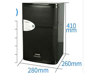 """山水 SP5-08 """"8寸喷漆卡包, 阻抗:8欧 信噪比:82d, 频响范围:65HZ-20KHZ 灵敏度:86db 输出功率:8欧120W*2,峰值功率:240W*2 覆盖角度:45-90度(水平)*45度(垂直) 配置描述:低音喇叭100磁35芯,T铁厚度6配6,卡包专用泡边,松压盆,台湾音圈,两个3寸全纸高音,高音14芯60磁,前导向气孔,直径50MM,长度100MM.箱体全15厘中纤,全手工制作梯形箱,高档(红色,黑色)亮光漆,铁网内蒙网布。 包装:K=K双坑加强,双层纸箱包装。外包装尺寸:680*40"""
