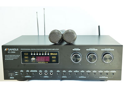 """山水 S1-100A """"带USB,蓝牙,3路话筒输入,独立音乐高低音平衡调节,内置无线话筒,话筒音量独立调节,话筒高中低音独立调节,无损音乐MP3,内置过载保护电路,超大容量,滤波电容,4对原装东芝大功率管 功率:120W 自动追频双咪"""""""