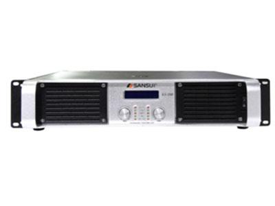 山水 S3-350  阻抗:8欧姆2*1350W  频率响应:20HZ-20KHZ       信噪比:>90dB     输入灵敏度:0.775Vrms/1.0Vrms/1.4Vrms                          谐波失真: