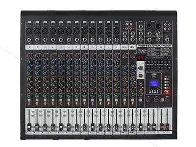 威皇 XP-16 調音臺 12路單聲道通道+2組立體聲輸入; 兩組輔助發送,一組返回; 設有12通道+48V幻象供電開關; 每通道帶有靜音功能開關; 兩編組調音臺,適合各種場合要求; 60mm行程推子,內置99種帶確定DSP數字效果...