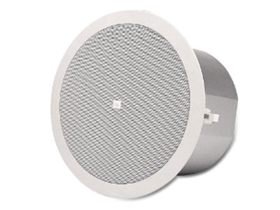 """JBL  CONTROL24C 淺深度天花板揚聲器 揚聲器單元:4.5"""" 低音揚聲器,0.5"""" 高音揚聲器 頻率響應:85Hz-25kHz 功率:連續節目功率30W,連續粉紅噪聲功率15W 靈敏度:86dB,1W,1m 覆蓋角:150° 阻抗:8Ω 70V/100V變壓器抽頭:8W,4W,2W,1W,(加上70V時的0.5W) 接線端子:防脫落螺柱接線柱 體積(高×直徑):106×195mm(4.2×7.7in)"""