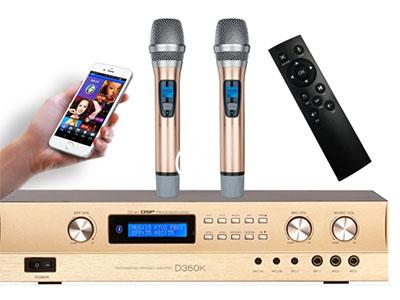 """QSN/韵强/英国)D350K""""功放+点歌机+效果器+话筒=四合一体机 诚"""" """"特点: 1,集多功能唱歌娱乐于一身,只要一台机器配一对音箱就能开唱,  2,配专业的KTV数字混响效果芯片,唱歌效果一流 3,带点歌机功能,配专业的KTV点歌模块;可连接WIFI,用手机微信扫一扫点歌,遥控器点歌,话筒语音点歌,方便致极;歌曲永久免费在线更新; 4,可在线看电视直播,电影,听音乐,广场舞等, 5,配套2T容量的标准3.5寸全新进口硬盘,内置3W多首歌曲 6,配蓝牙功能,可连接手机等播放音乐  7,配备中控系统,可受智能家居系统控制 8,智能化操作系统,CPU全数码调节所"""