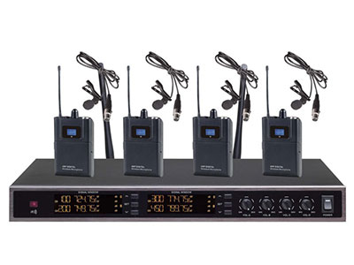 "QSN/韵强/英国)VD-6400一拖四头戴话筒 ""1.UHF频段传输信号,频率范围:500MHz-900MHz; 2.两通道接收信号,每通道有200个信道可选,每个信道以250KHz步进;每通道用49.75MHz; 3.采用稳定的PLL数位锁相环合成技术和智能数字线路,整机性能稳定性显著提高; 4.各通道配备独有的ID号,增强抗干扰功能,支持40台同时使用(即40台接收机和80个发射器); 5.内置高效抑制噪声线路,防啸叫功能显著; 6.接收机背面设置2条橡胶接收天线,增强接收的信号,外观大方得体; 7.背面设有2个平衡输出和1个混合非平"
