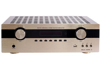"QSN/韵强/英国)KF5706通道家庭影院可唱K数码功放 ""最新32比特,TI(德州仪器公司)DSP解码IC,可解码:Dolby True HD/ Dolby Digital Plus / Dolby Digital / DTS-HD Master Audio / DTS ES) HDMI :4进2出 ( 4K 高清) ,同时带 光迁 2路 ,同轴 2路,3组话筒输入 蓝牙接收,USB播放,一组录音输出,一组低音输出,各声道设\10段均衡调节 精选纯正进口的大功率三极管,加以精准配对使用,动态好,工作稳定。 具有全面的智能保护电路措施:削波压裂电路,直"