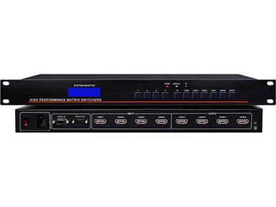 """澳雅声  RS-HD0404HDMI高清视像跟踪切换矩阵 """"配合会议视像跟踪功能主机使用,通过RS232通信,实现会议发言视像自动跟踪功能,数字高清HDMI矩阵,支持HDMI 1.3a、HDCP 1.3、与及DVI 1.0协议。支持12位色深的所有HDTV分辨率包括1080p/60,以及高达1920*1200的PC的分辨率。支持对最高达20米的长线输入作自动均衡,对长距离的HDMI电缆进行补偿,减少所需附加的输入信号处理设备数量。此矩阵能够出色的将HDMI视频及多路数字音频信号通过HDMI线传输到显示设备上。  ↘超宽带数字高清HDMI矩阵"""