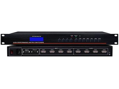 """澳雅声  HDMI高清切换矩阵HDMI0404  """"数字高清HDMI矩阵,此矩阵支持HDMI 1.3a、HDCP 1.3、与及DVI 1.0协议。支持12位色深的所有HDTV分辨率包括1080p/60,以及高达1920*1200的PC的分辨率。支持对最高达20米的长线输入作自动均衡,对长距离的HDMI电缆进行补偿,减少所需附加的输入信号处理设备数量。此矩阵能够出色的将HDMI视频及多路数字音频信号通过HDMI线传输到显示设备上。  ↘超宽带数字高清HDMI矩阵"""