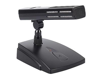 """澳雅声 工程专用会议话筒A-981 """"*设计于公共广播、会议、专业录音、电视广播及其他特别要求的收音应用。 *超指向性收音设计,并提供供电放大器电路。 *无噪式开关,能经内置开关作远程设备的逻辑控制。 *整合 LED 状态显示灯,以幻象供电操作,提供红灯显示。 *整合了双网层防风罩,可减低环境噪声及风声。 *话筒和底座分拆式设计。方形拾音管体,拾音距离达50cm *压铸成型的底座和橡胶底垫,能减低碰撞平面时产生的敲击声及震动声。 技术参数: 元件:14mm镀金录音咪芯 指向性:超指向性 频率响应:20 ~ 20,000"""