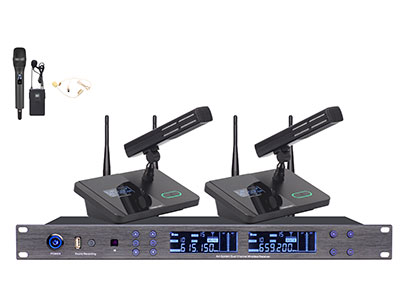 """澳雅声 UHF无线会议一拖二(USB录音)UW-6882 """"业界首创的采用12.5mm厚度纯铝外壳发射会议单元,采用内置隐藏式天线美观大方,在保证足够的信号10mW发射强度外,纯铝材质的会议发射座特别对外界入侵干扰信号源具有高效的阻止能力,纯铝材质会议发射单元还具有以下优点:                                                                                 (1)防火防暴:铝质材料板为不燃材料,12.5mm厚度纯铝外壳具有极强的防暴防护强度。 (2)耐腐蚀:铝面板是表面经环氧氟碳处"""