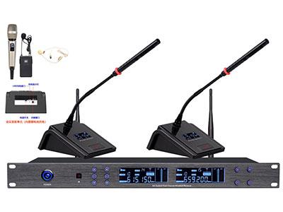 """澳雅声 UHF无线会议一拖二UW-6502  """"采用内置隐藏式天线美观大方,在保证足够的信号10mW发射强度外,本系列会议红外对频多通道无线麦克风,采用杂音干扰较少的UHF频段PLL相位锁定技术、微电脑CPU控制技术,全金属材质标准机箱,金属面板分别配置每个信道接收器,装配LCD显示屏幕,采用电子式按键控制面板操作。主机分别提供每路独立的平衡音频输出插座和与混合不平衡信号输出,全面适应各种连接需求。接收机还设有2种人性化功能按键,有效辅助调音师或使用单位调试或使用过程当中防止人为误操作而设:★(1)G-CALL频率组设置调用按键,此按键是厂家根据不"""