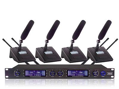 """澳雅声  UHF无线会议一拖四UW-9664  """"综合参数: ●载波频率范围: (取决于适用的国家规范) ●频带宽度:60MHz ●调制方式:FM ●调频最大频偏:±45KHz ●频率响应:50Hz-15KHz ●信噪比(S/N):>105dB(A) ●失真度(1kdz):100dB ●综合失真:"""