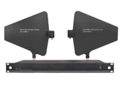 """澳雅声 天线放大器UW-104 """"是一台UHF频段,宽频带的分集式天线分配器,可把一对天线接收信号作整体增益分配到多个通道的无线接收系统中。一台天线分配器可提供4台接收机的分配连接。以宽频带450-950MHz范围工作,可以把多个450-950MHz范围内不同频段的无线系统连接一起使用。        技术参数: ﹡160MHz宽频带设计,适合多种无线系统使用。  ﹡配套指向性天线使用,提高系统接收信号的稳定性。  ﹡对工程机柜式安装的无线系统,天线部份合理应用。 ﹡频率响应:450 - 950 MHZ ﹡最大增"""
