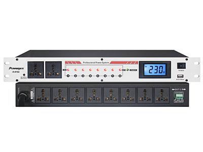 """澳雅声 专业10路电源时序器AT-9100 """"随着科技进步,音响方面的产品越来越多,如果这些产品组合在一起就要安装很多的插座,这就给用户带来不便。时序器是能有效按开机先前及后、关机则先后及前的顺序开关所连接的用电设备的一种器材,避免一些人为失误的操作,彻底解决终端器材(如功放、喇叭等)可能由于这种失误而造成的损害,同时又可减低用电设备对输电线路启动产生的冲击电流。正由于其性能特性,系统管理员得以永远别离繁复的开合,切断用电设备的电源的工作,是音响工程和电视广播系统电脑网络系统及其它电气工程必不可少的设备。  技术参数 ●供电电源:交流 22"""