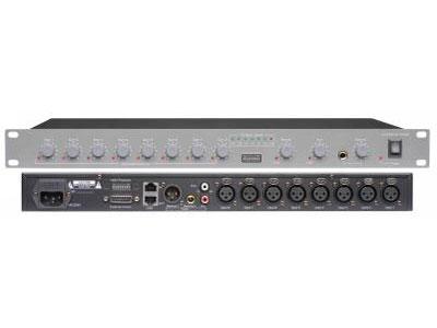 """澳雅声  八路智能混音器AT-MX381 """"AT-MX381八路智能混音器无论是在会议场合、演讲厅、多媒体教室、广播电台,智能混音器均得到广泛应用。工作中语言清晰、操作方便,同时,它能最大限度地消除或减弱这些场所中的反馈。由智能混音器组成的会议系统是理想的解决方案,配合MV-9990视像控制器可组成视像会议系统。  ●8个平衡式输入端口,可连接话筒或者线路电平信号。  ●话筒端口具有48V幻像电源开关控制。  ●每通道带有独立的音量控制。  ●每通道都可调整门闸衰减电平。  ●会自动开启只有信号输入的声道,声音闸门动作电平能自动调整"""