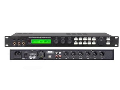 """澳雅声  数字前级处理器X5 """"﹡具有音箱处理器功能的卡拉OK效果器,各部分功能可独立调节。 ﹡采用2Bit数据总线和32Bit DSP。 ﹡音乐设有7段参量均衡。 ﹡音乐到主输出高通滤波器:12dB/24dB(0Hz - 303Hz) ﹡话筒设有15段参量均衡。有麦克风压限功能。  ﹡主输出设有5段参量均衡。 有压缩限幅器。 ﹡中置输出,后置输出及超低均设有3段参量均衡。 ﹡麦克风有4种反馈抑制模式:OFF  1  2  3。 ﹡可存储16种模式。 ﹡话筒输出,主输出,中置输出,超低音输出,后置输出均设有压限及"""