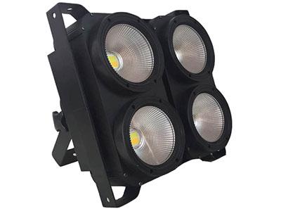 """美辉  4眼COB观众灯MH-DB04A """"输入电压:AC90-230V/50Hz  功   率:400W  光   源:4颗100瓦添鑫灯珠 发光颜色:白光 暖白光 发光角度:60° 控制模式:DMX/主从/自走 DXM通道:2/6/12CH通道 色   温:3000-5600K 包装尺寸:43*27*42   (1台/箱) 净    重:8.5kg"""""""