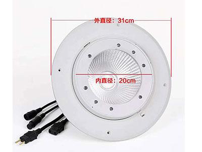 """美辉  嵌入式COBMH-Q100B """"电压:AC90V-240v,50/60HZ  功率:150W 光源:1颗100W COB灯珠 通道:4-6CH """"""""外壳颜色:白色出光角度可调 开孔大小255mm"""""""