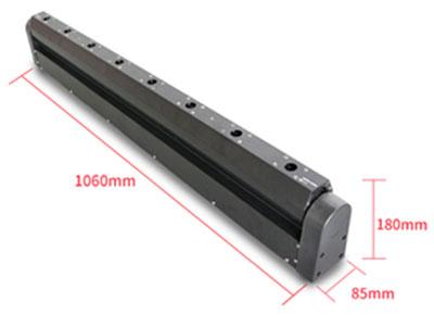 """美辉  八眼激光灯MH-GB008A """"输入电压:AC90-260V50/60Hz 光源数量:8个高品质激光器 控制信号:DMX512,主从机,声控或自走 控制通道:8个 旋转角度:  270°  消耗功率:125W 产品尺寸:1064(D)*84(W)*180(H)mm 包装尺寸:1165(D)*170(W)*220(H)mm 净重:8KG"""""""
