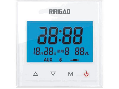 "TBT  R108C ""(a)86型R-108功能简述:*蓝牙播放。*USB接口输入(同时供手机充电)。*3寸蓝色液晶屏显示。*24小时时钟显示,日起星期显示。*电阻触摸屏。*立体声音频输出。*两路音频输入。*遥控功能,自带遥控器。(b)86型R-308功能简述:在R-108功能基础上增加,*SD卡接口输入。*定时开关机。*FM收音机功能。*门铃功能。*支持485协议,与各种智能家居系统对接。*彩屏,菜单在屏幕上显示,触摸点播。        (C)长方型R-208功能简述:*4.3寸液晶显示屏。*支持SD卡/U盘播放功能"
