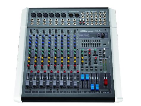 音王 MIX08C MIX系列調音臺 筒輸入  6    立體聲輸入  4     輔助  4     效果器  100種   單聲道  1     立體左右輸出  2    編組左右輸出  4     增益  70dB(Mic 主輸出)   單聲道均衡器:±15dB  高: 12kHz, 中:800-8kHz(可選), 低:80Hz   立體聲通道均衡器:±15dB  高: 12kHz, 中高:3kHz, 中低:500Hz, 低:  80Hz   頻率響應  (20-20kHz)±1dB   等效底噪  -127(不