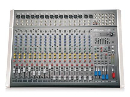 音王 MIX12C MIX系列調音臺 話筒輸入  10   立體聲輸入  4     輔助  4     效果器  100種   單聲道  1     立體左右輸出  2    編組左右輸出  4     增益  70dB(Mic 主輸出)   單聲道均衡器:±15dB  高: 12kHz, 中:800-8kHz(可選), 低:80Hz   立體聲通道均衡器:±15dB  高: 12kHz, 中高:3kHz, 中低:500Hz, 低:  80Hz   頻率響應  (20-20kHz)±1dB   等效底噪  -127(