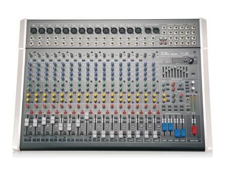 音王 MIX20C MIX系列調音臺 筒輸入  16   立體聲輸入  4     輔助  4     效果器  100種   單聲道  1     立體左右輸出  2    編組左右輸出  4     增益  70dB(Mic 主輸出)   單聲道均衡器:±15dB  高: 12kHz, 中:800-8kHz(可選), 低:80Hz   立體聲通道均衡器:±15dB  高: 12kHz, 中高:3kHz, 中低:500Hz, 低:  80Hz   頻率響應  (20-20kHz)±1dB   等效底噪  -127(不