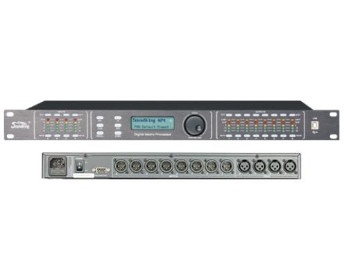 音王 AP48 音頻處理器 輸入 4 x XLR平衡式  輸出 8 x XLR平衡式  阻抗 1MΩ/立體聲輸入,500KΩ/單聲道輸入 輸入最大電平 +20dBu  共模抑制比  高于50dB(30Hz~20KHz)  輸出: 阻抗<500Ω, 平衡輸出  輸出最大電平 +20dBu  頻率響應 20Hz~20kHz,+/-0 5dB.  信噪比 >115dBu  失真