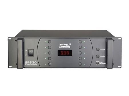音王 SPS30 時序電源 輸出電流  30A 控制電源  10路 延遲時間(每路電源)  2秒 照明功率  / 尺寸(長x寬x高)  133x483x360(mm) 重量  11kg