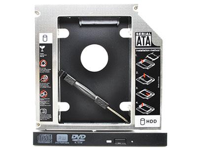 光驱位固态硬盘托架 铝合金材质、坚固耐用 有9.5MM和12.7MM两种