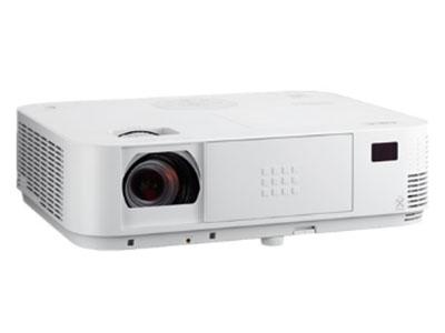 NEC  M403W+ 全密闭光通道,无需过滤网,全玻璃电子元器件,支持多种3D格式,8种投影模式,满足不同场景需求;磁感色轮,光线感应功能;手动变焦聚焦,1.7倍大变焦,支持DICOM医学模式,内置20W扬声器