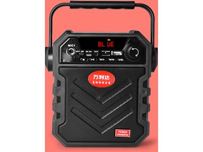 万利达   X11 ◆ 塑胶   带显示屏                        ◆ 蓝牙播放音乐/蓝牙通话 /支持TF卡/u盘 /充电线收音等音频输入                                                      ◆ 4寸低音喇叭                    ◆ 超强低音效果               ◆ 带6.5MM话筒接口                              ◆ 内置大容量电池