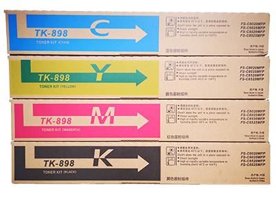 京瓷TK-898彩粉 净重:200g 120g 120g 120g 打印张数: K:10000 M:7000 C:7000 Y:7000 适用机型:Taskalfa  FS- C8020/C8025/C8520/ C8525