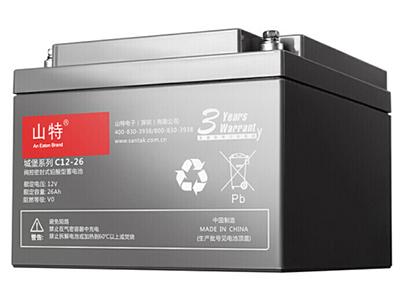 山特  UPS不间断电源 城堡系列 电池免维护机 房服务器专用阀控式铅酸蓄电池 C12-26AH