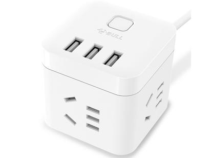 公牛(BULL) 魔方智能USB插座 插线板/插排/排插/接线板/拖线板 GN-U303U 白色魔方USB插座全长1.5米