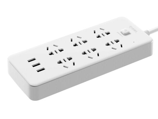 公牛(BULL)新国标公牛小白USB插座/插线板/插排/排插 GNV-UUN153 3usb接口 6孔全长1.8米带保护门