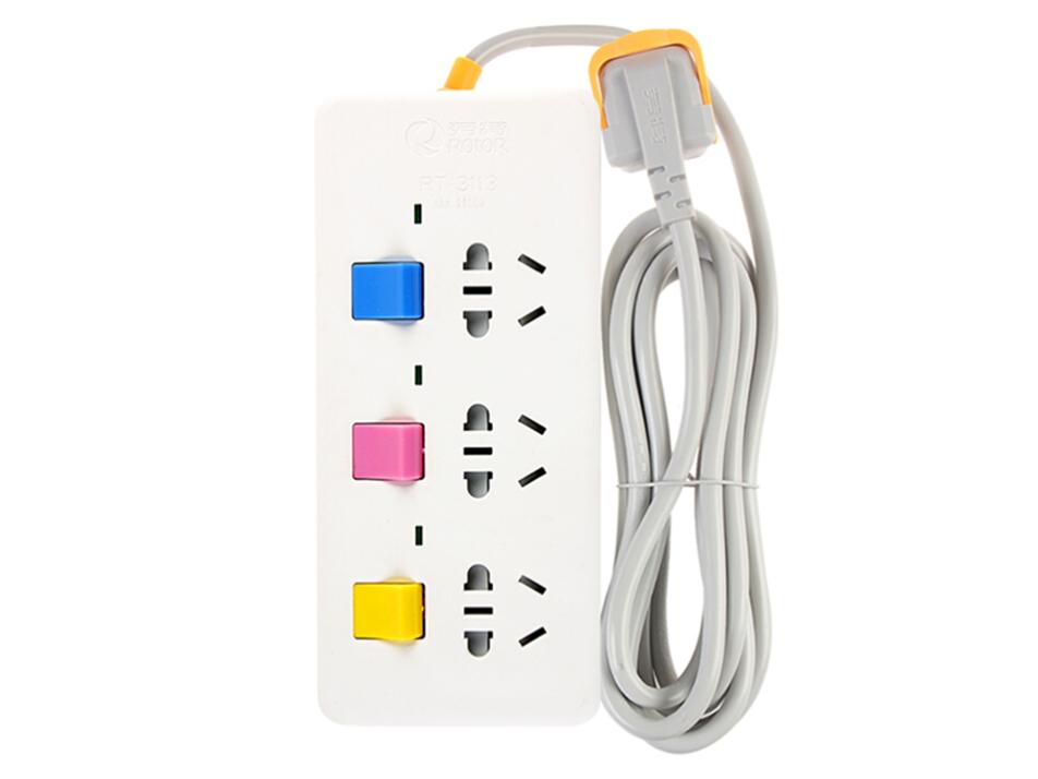 劳特(ROTOR) 独立分控开关插座 3/4/5孔 家用三项插头插排插线板 电源排插接线板 拖线板 10A丶2500W丶3位插座丶全长1.8米