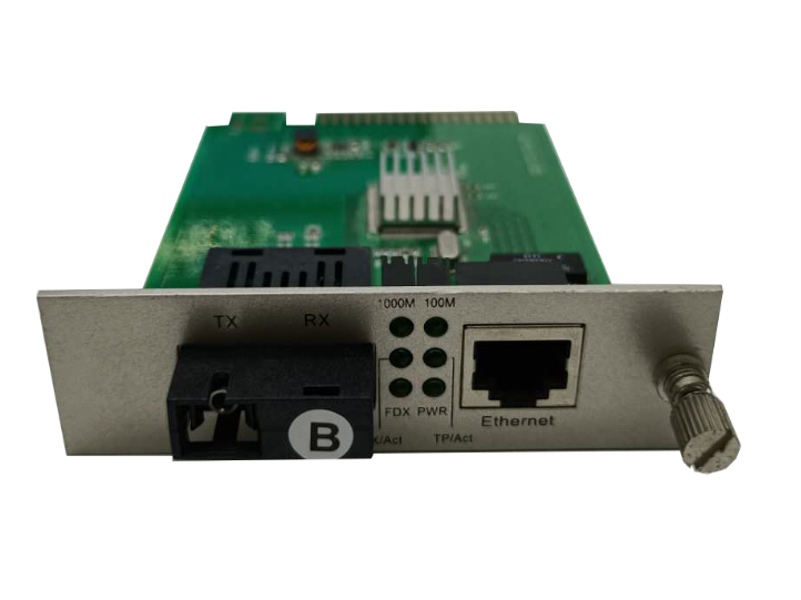 长飞 卡式 千兆1光1电 CF-101GSK-20 B 10/100/1000M电信级单纤单模插卡式以太网光纤收发器是为专业用户开发的一款功能强大的智能型产品
