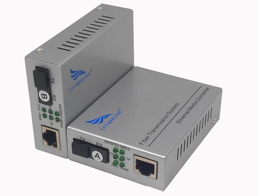 长飞 百兆 一光1电 单模单纤 CF-101SW-20 10/100自适应光纤收发器: 光纤收发器(也称光电转换器) 是将10/100M以太网的电接口与光接口之间的转换